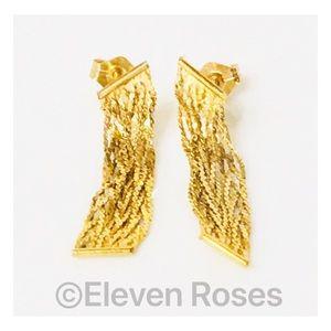 Jewelry - 14k Gold Braided Multi Chain Fringe Earrings